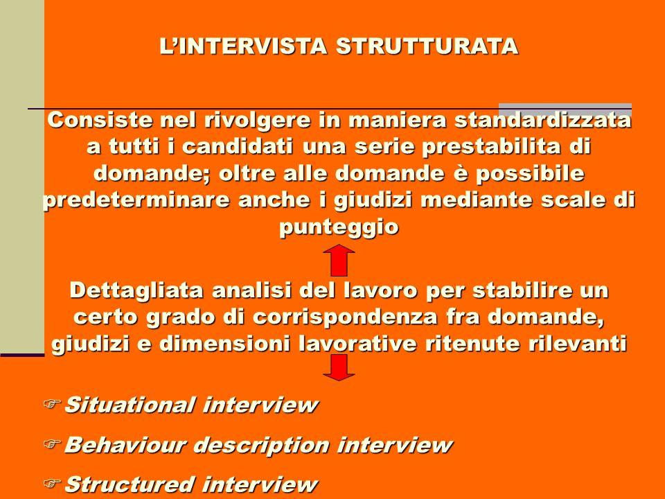 L'INTERVISTA STRUTTURATA