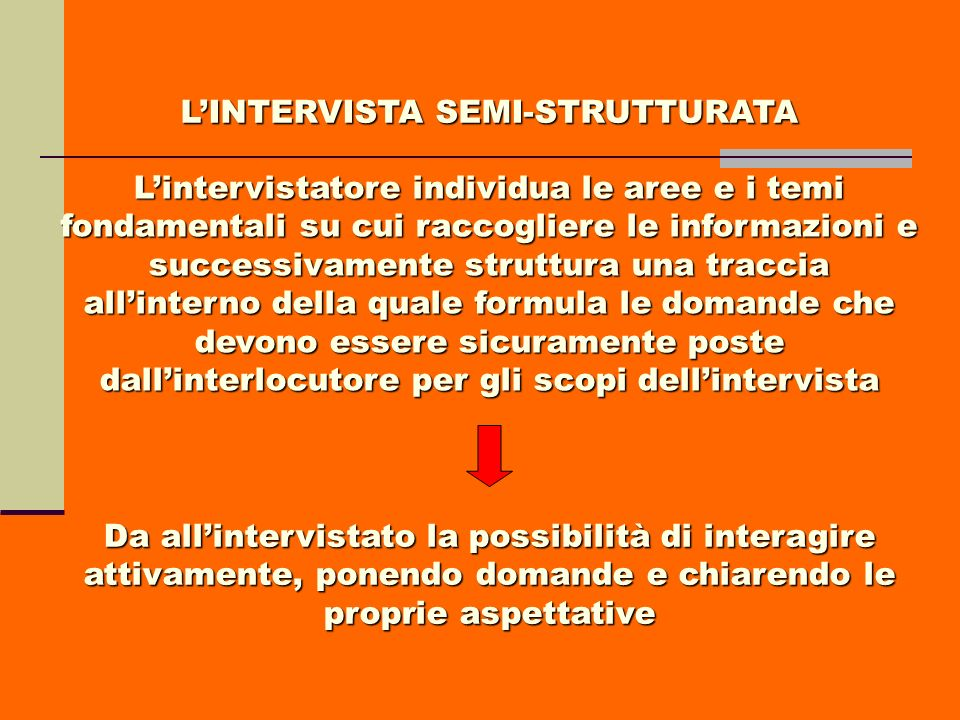 L'INTERVISTA SEMI-STRUTTURATA