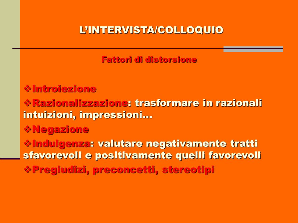 L'INTERVISTA/COLLOQUIO Fattori di distorsione
