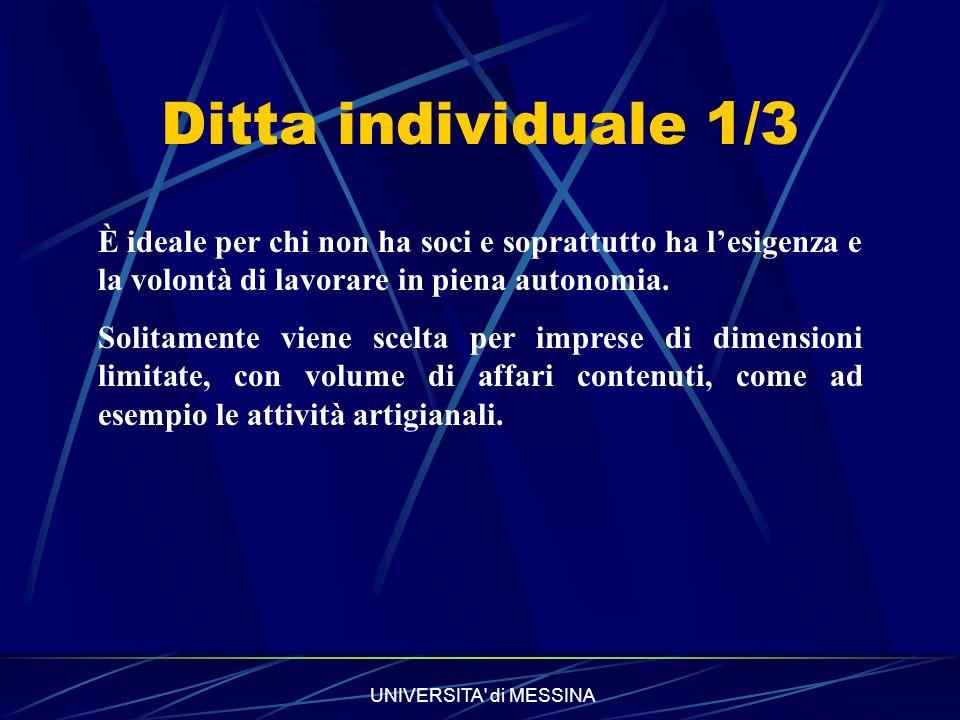 Ditta individuale 1/3 È ideale per chi non ha soci e soprattutto ha l'esigenza e la volontà di lavorare in piena autonomia.