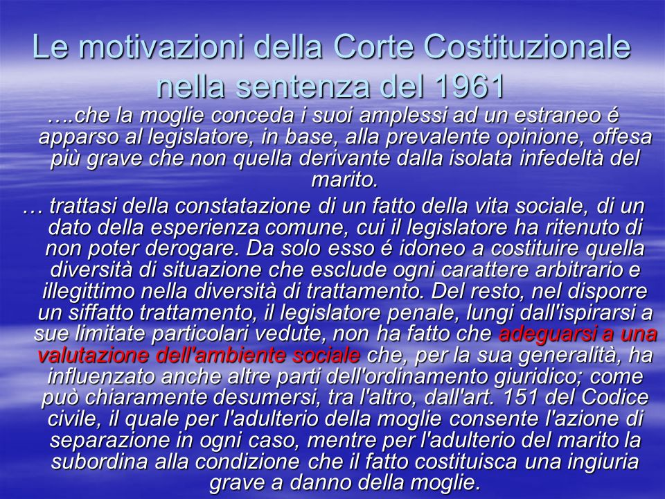 Le motivazioni della Corte Costituzionale nella sentenza del 1961