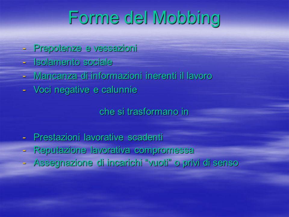 Forme del Mobbing Prepotenze e vessazioni Isolamento sociale