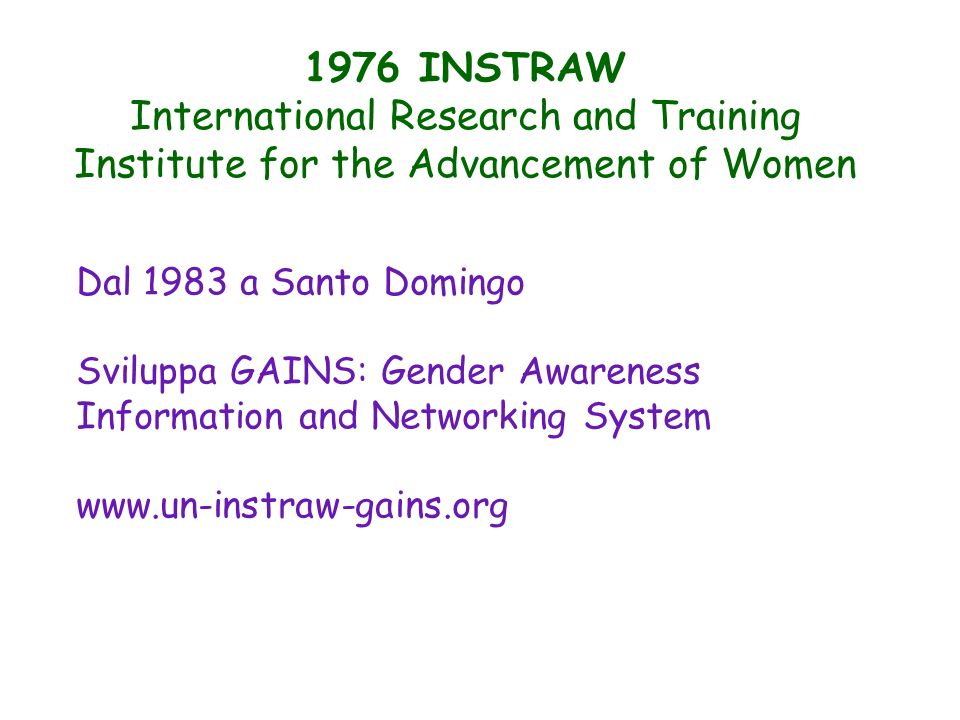 1976 INSTRAW International Research and Training Institute for the Advancement of Women