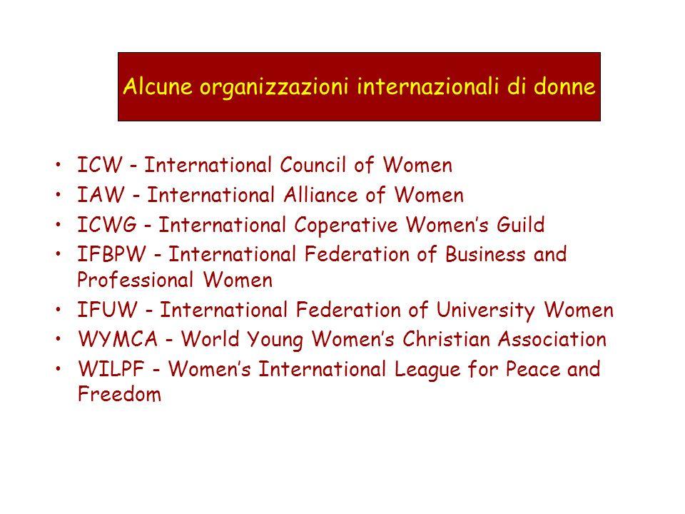 Alcune organizzazioni internazionali di donne
