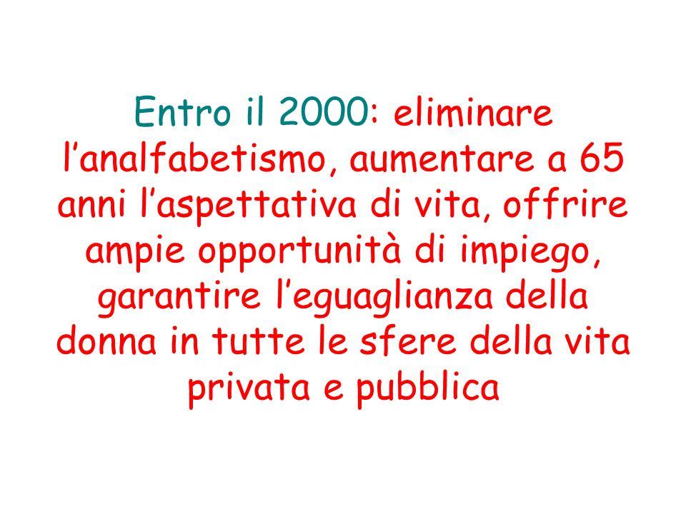 Entro il 2000: eliminare l'analfabetismo, aumentare a 65 anni l'aspettativa di vita, offrire ampie opportunità di impiego, garantire l'eguaglianza della donna in tutte le sfere della vita privata e pubblica