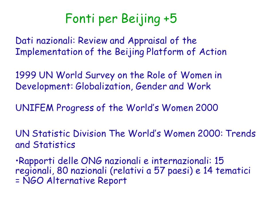 Fonti per Beijing +5 Dati nazionali: Review and Appraisal of the Implementation of the Beijing Platform of Action.