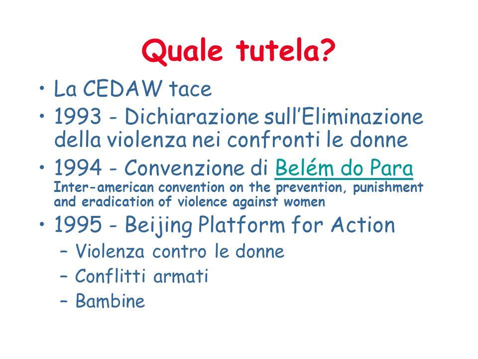 Quale tutela La CEDAW tace