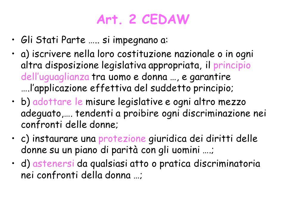 Art. 2 CEDAW Gli Stati Parte ….. si impegnano a: