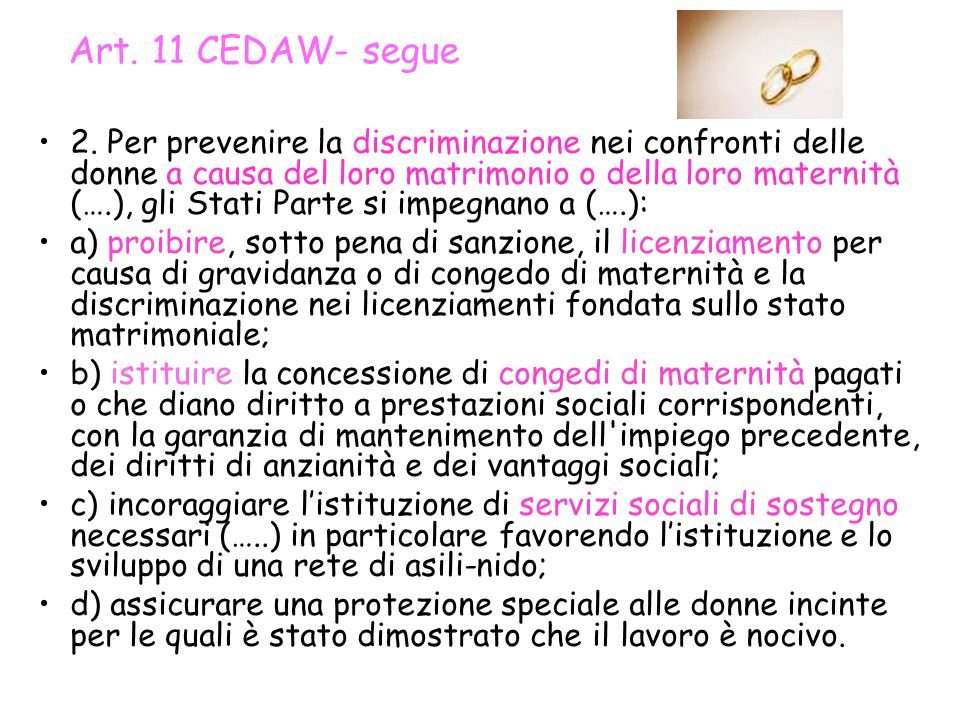 Art. 11 CEDAW- segue