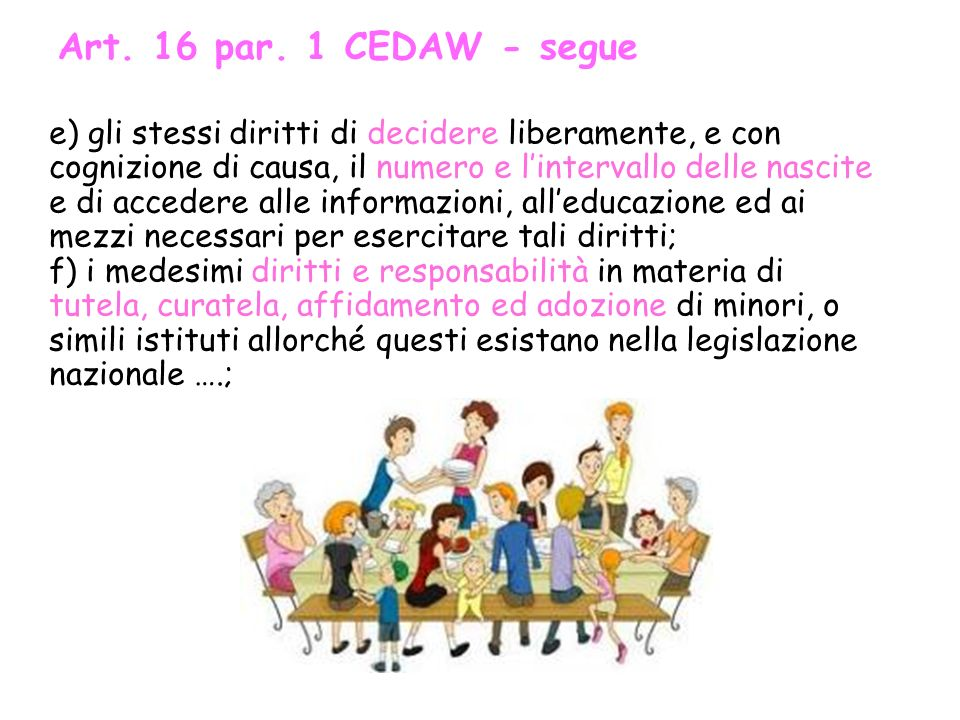 Art. 16 par. 1 CEDAW - segue