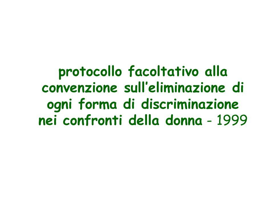 protocollo facoltativo alla convenzione sull'eliminazione di ogni forma di discriminazione nei confronti della donna - 1999