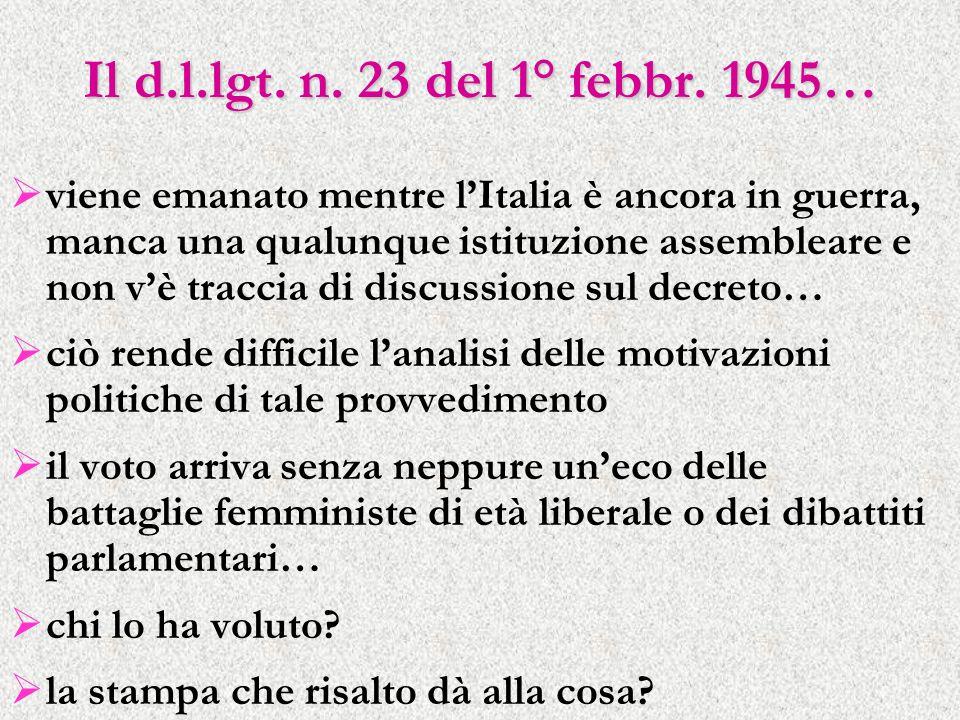 Il d.l.lgt. n. 23 del 1° febbr. 1945…