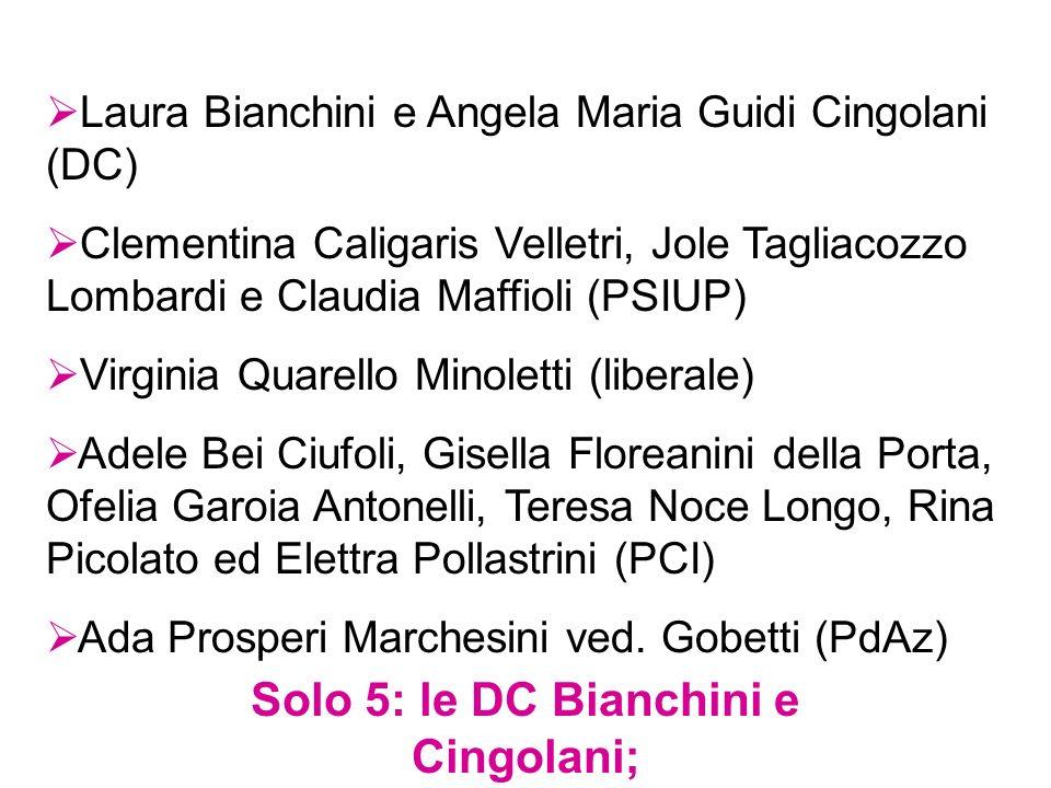 Solo 5: le DC Bianchini e Cingolani; le PCI Bei, Noce e Pollastrini