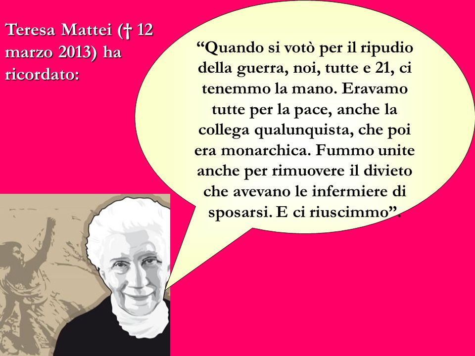 Teresa Mattei († 12 marzo 2013) ha ricordato:
