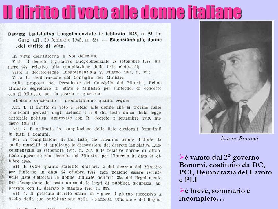Il diritto di voto alle donne italiane