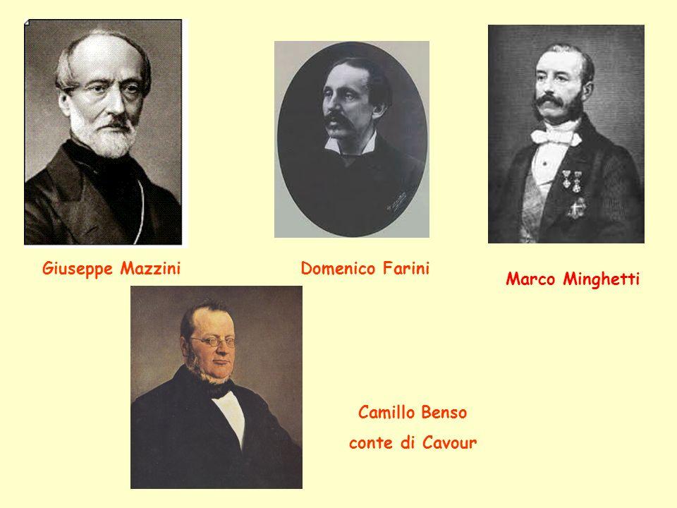 Giuseppe Mazzini Domenico Farini Marco Minghetti Camillo Benso conte di Cavour