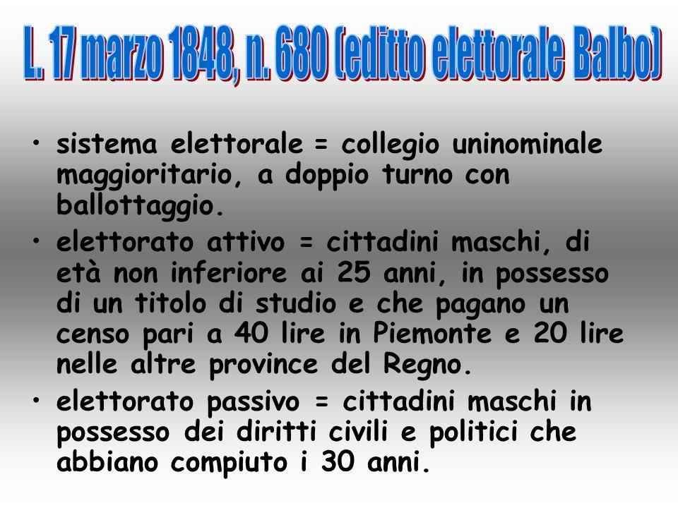 L. 17 marzo 1848, n. 680 (editto elettorale Balbo)