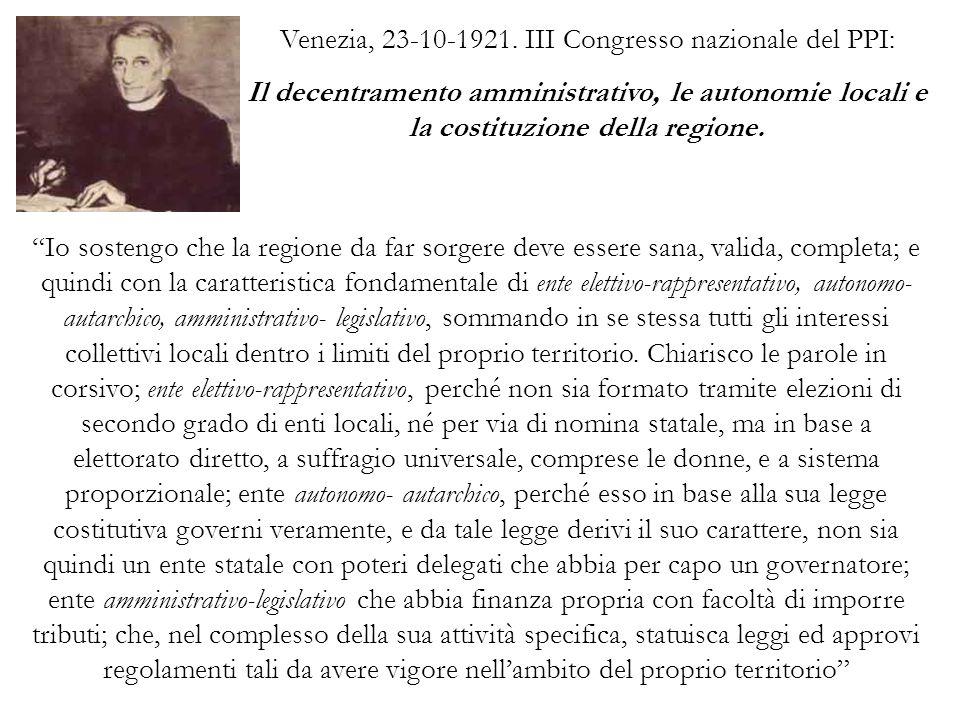 Venezia, 23-10-1921. III Congresso nazionale del PPI: