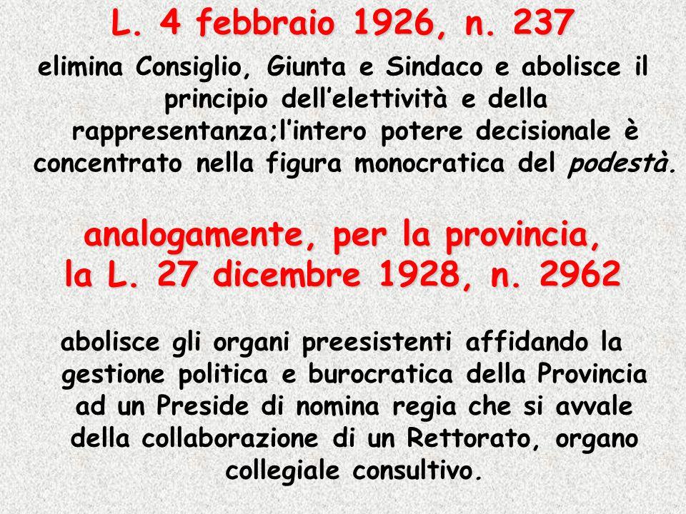 analogamente, per la provincia, la L. 27 dicembre 1928, n. 2962