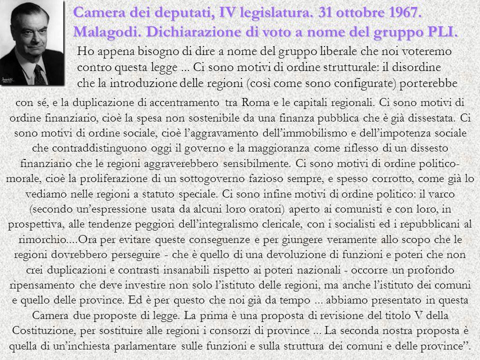 Camera dei deputati, IV legislatura. 31 ottobre 1967.