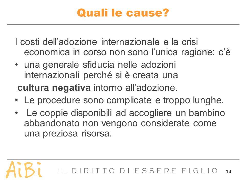 Quali le cause I costi dell'adozione internazionale e la crisi economica in corso non sono l'unica ragione: c'è.