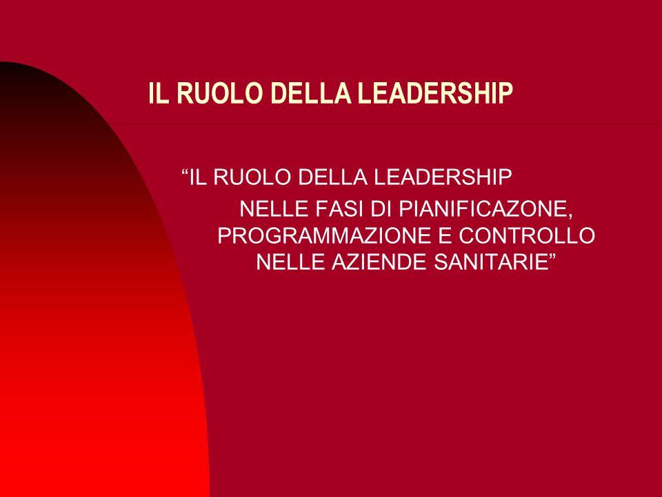 IL RUOLO DELLA LEADERSHIP