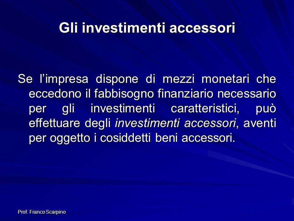 Gli investimenti accessori