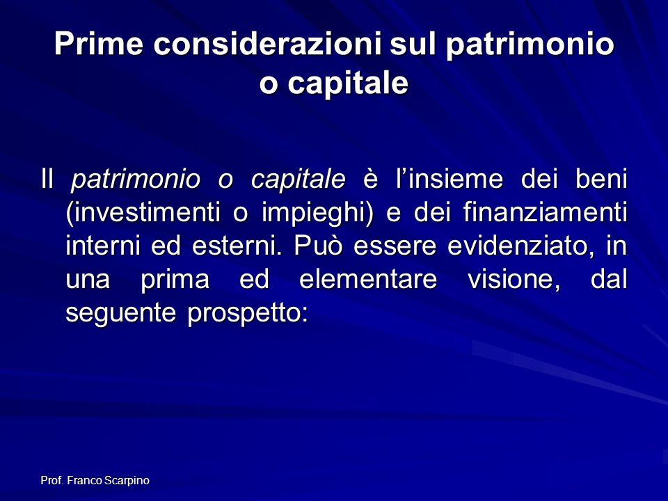 Prime considerazioni sul patrimonio o capitale