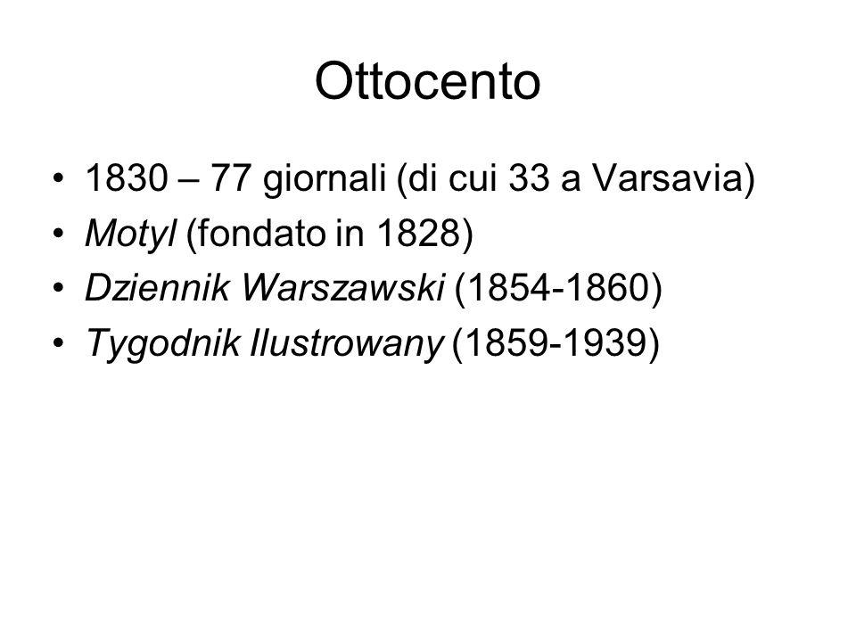 Ottocento 1830 – 77 giornali (di cui 33 a Varsavia)