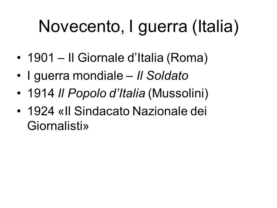 Novecento, I guerra (Italia)