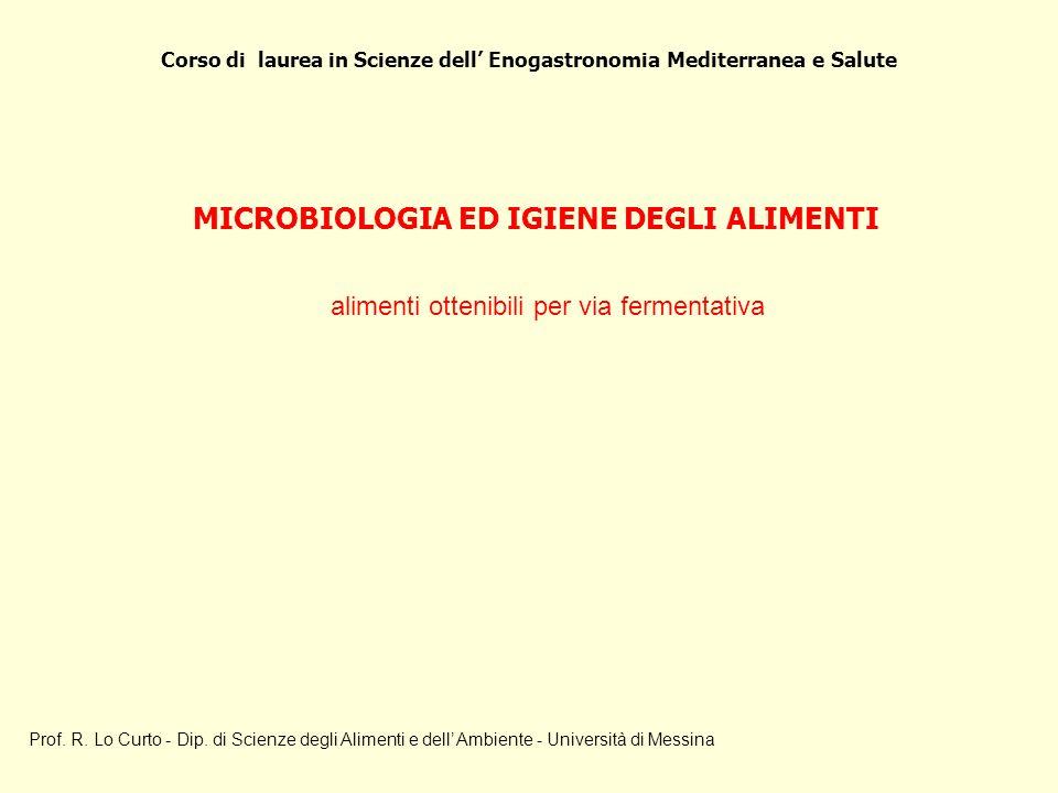 MICROBIOLOGIA ED IGIENE DEGLI ALIMENTI