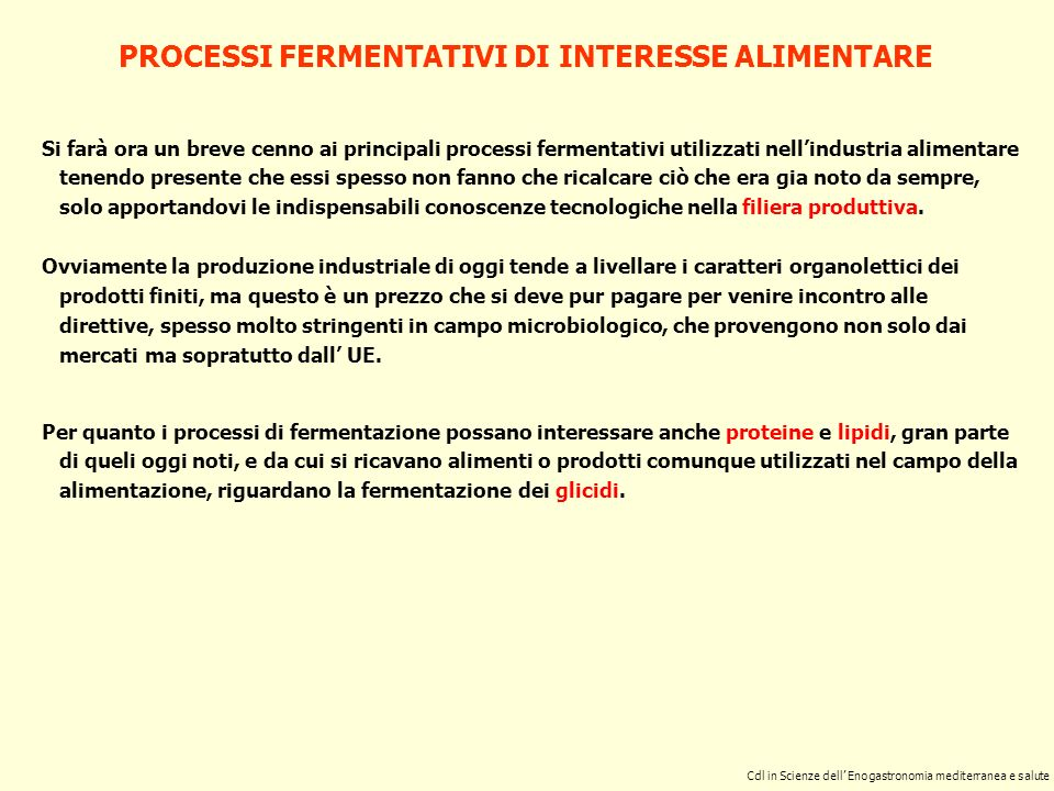 PROCESSI FERMENTATIVI DI INTERESSE ALIMENTARE