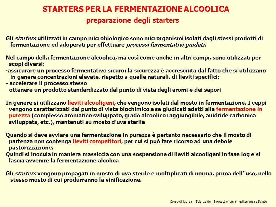 STARTERS PER LA FERMENTAZIONE ALCOOLICA preparazione degli starters