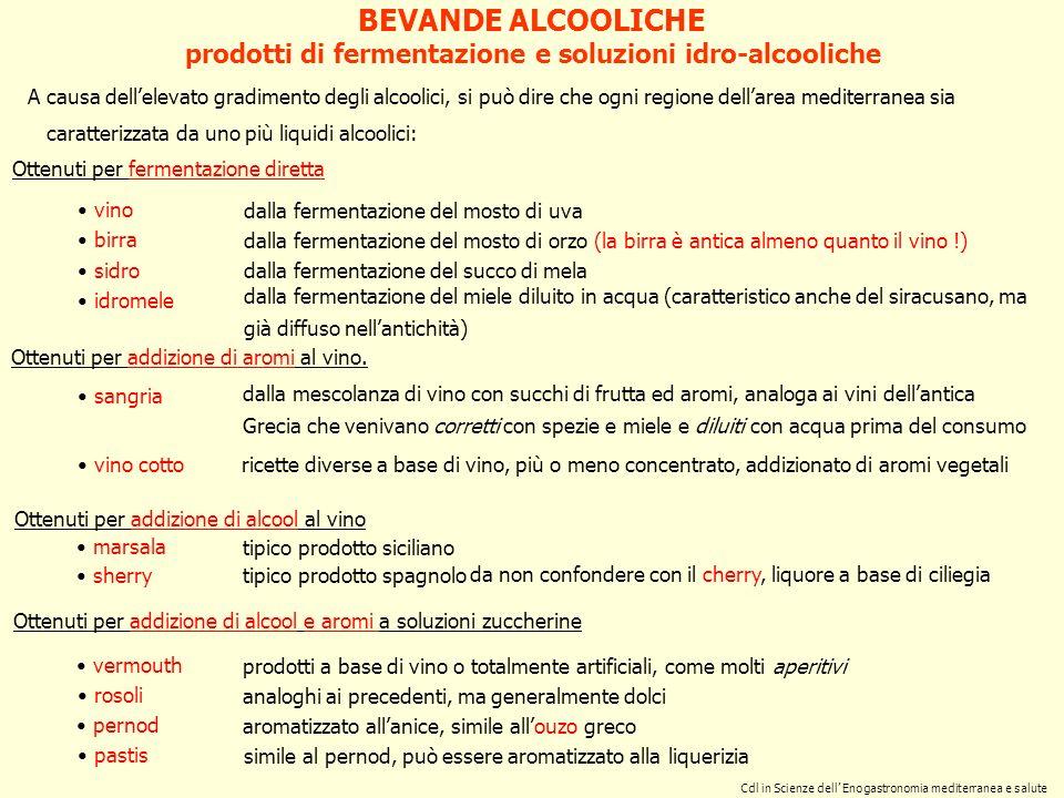 prodotti di fermentazione e soluzioni idro-alcooliche