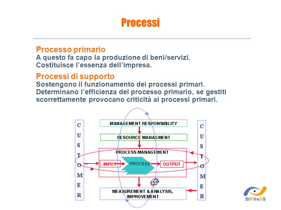 Processi Processo primario Processi di supporto