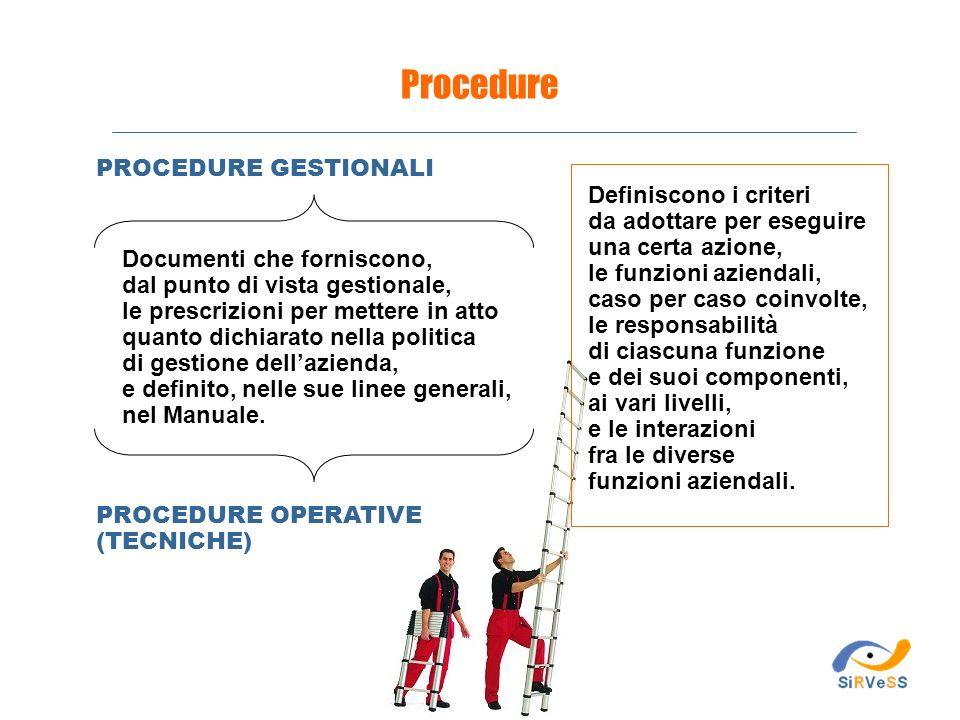 Procedure PROCEDURE GESTIONALI Definiscono i criteri
