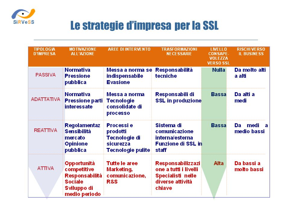 Le strategie d'impresa per la SSL