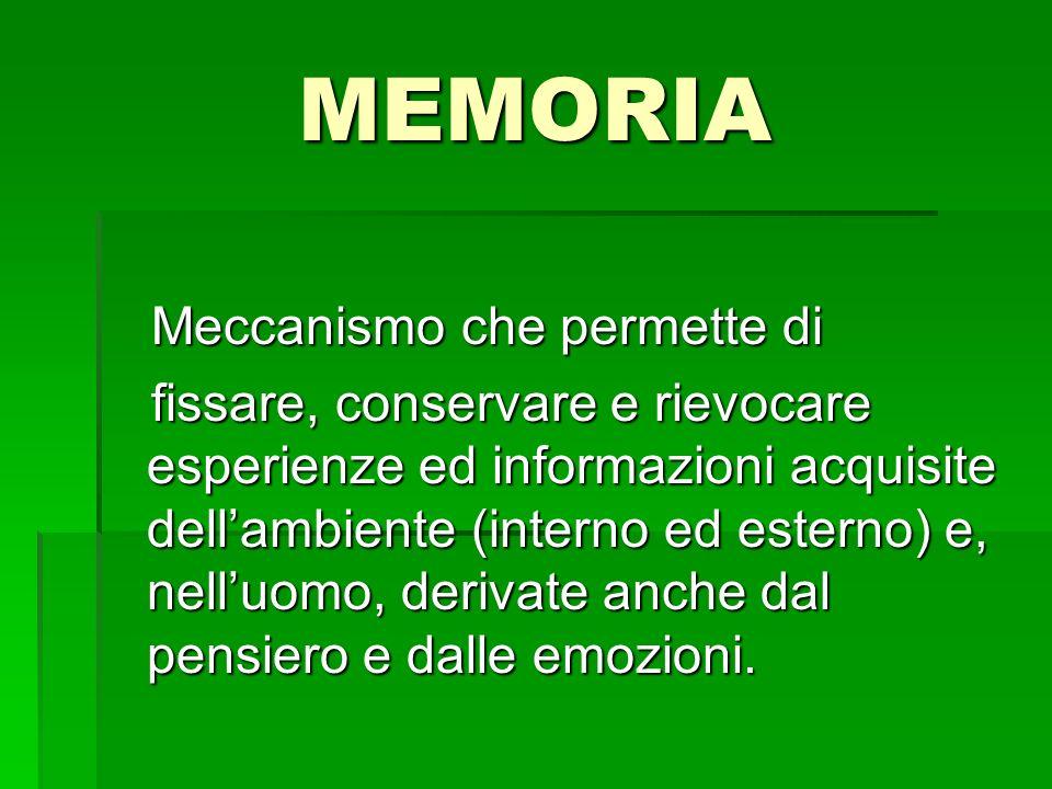MEMORIA Meccanismo che permette di