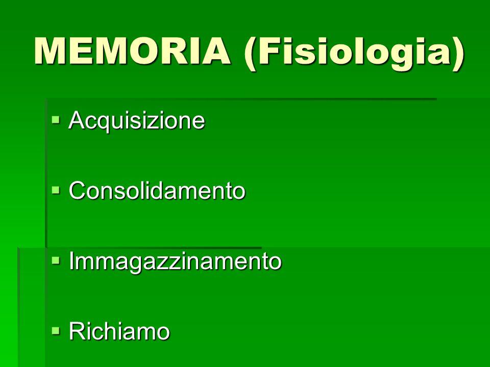 MEMORIA (Fisiologia) Acquisizione Consolidamento Immagazzinamento