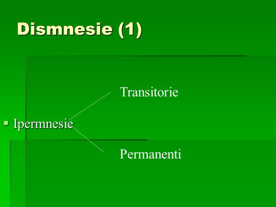 Dismnesie (1) Ipermnesie Transitorie Permanenti