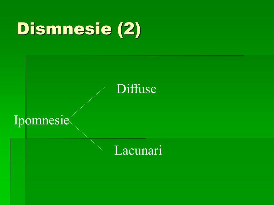 Dismnesie (2) Diffuse Ipomnesie Lacunari