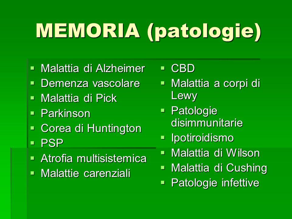 MEMORIA (patologie) Malattia di Alzheimer Demenza vascolare