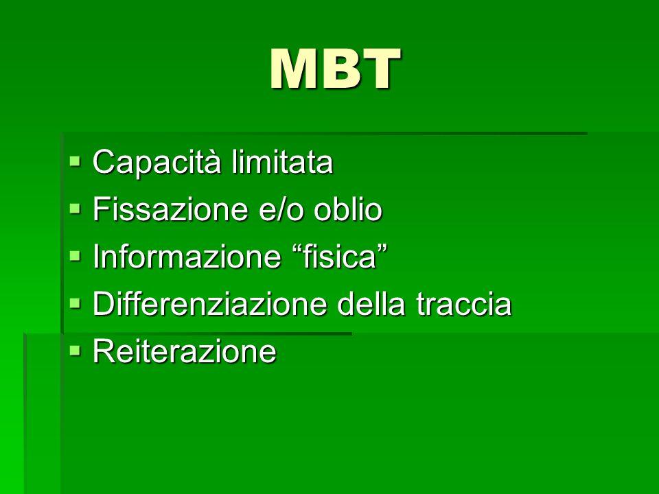 MBT Capacità limitata Fissazione e/o oblio Informazione fisica