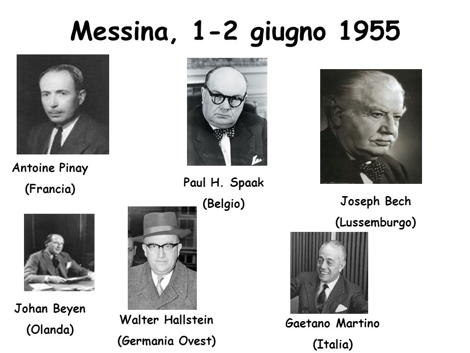 Messina, 1-2 giugno 1955 Antoine Pinay (Francia) Paul H. Spaak