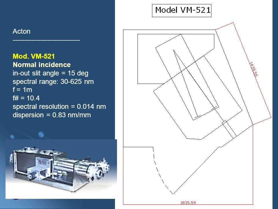 Acton----------------------------- Mod. VM-521. Normal incidence. in-out slit angle = 15 deg. spectral range: 30-625 nm.