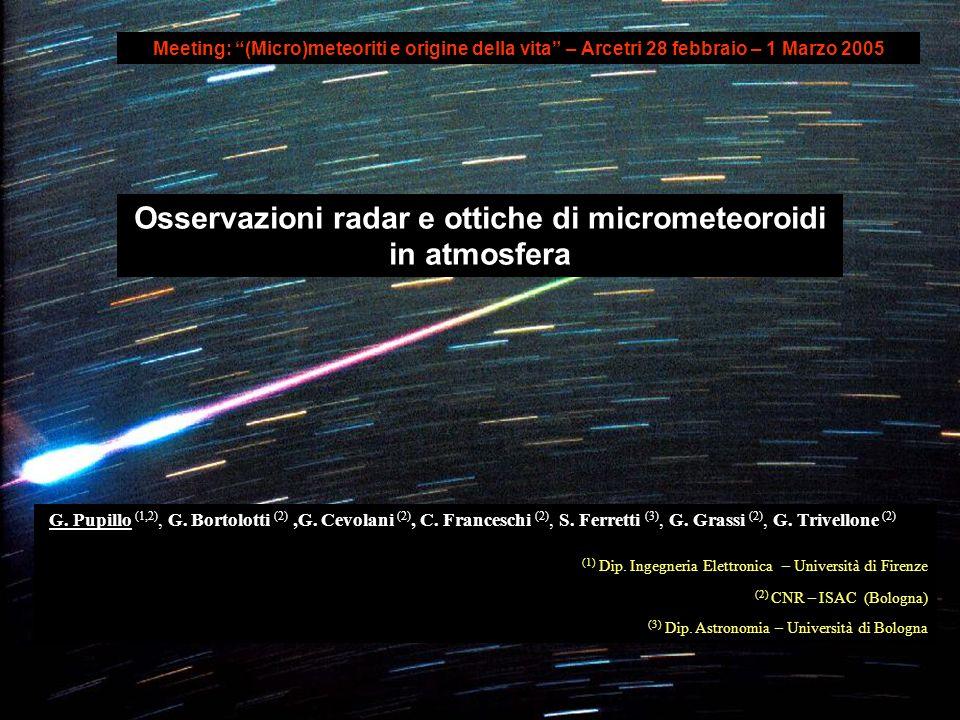 Osservazioni radar e ottiche di micrometeoroidi in atmosfera