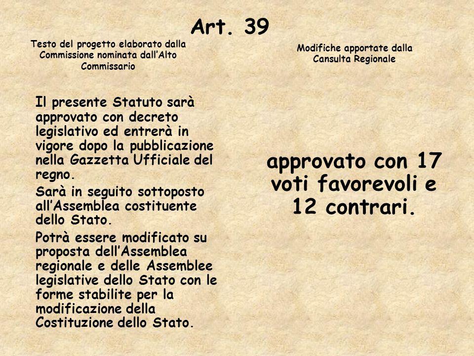 Art. 39Testo del progetto elaborato dalla Commissione nominata dall'Alto Commissario. Modifiche apportate dalla Cansulta Regionale.