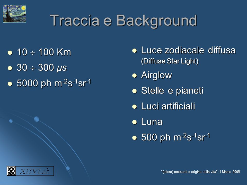 Traccia e Background Luce zodiacale diffusa (Diffuse Star Light)