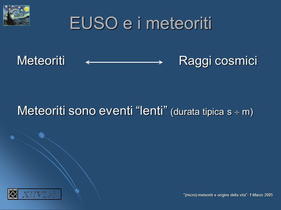 EUSO e i meteoriti Meteoriti Raggi cosmici