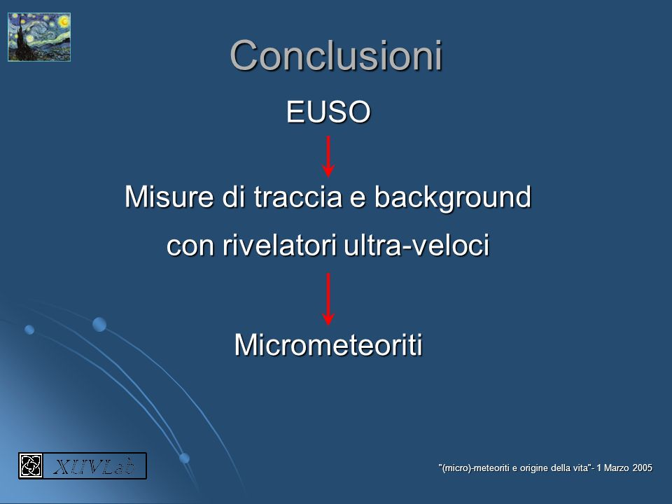 Conclusioni EUSO Misure di traccia e background